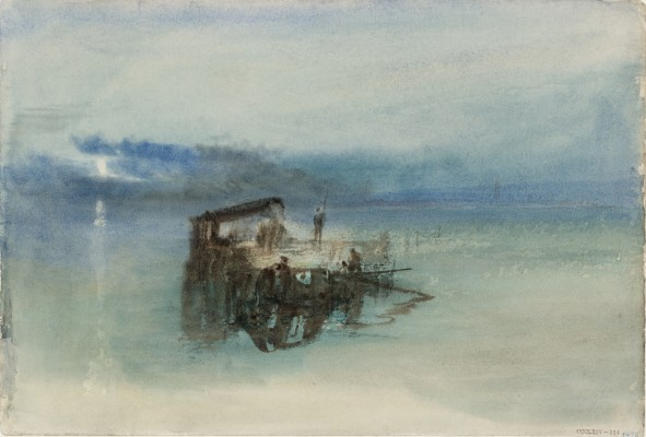 Joseph Mallord William Turner, Fishermen on the Lagoon, Moonlight, 1840. Watercolor on paper. Tate, accepted by the nation as part of the Turner Bequest, 1856, D36192. Image © Tate, London 2015