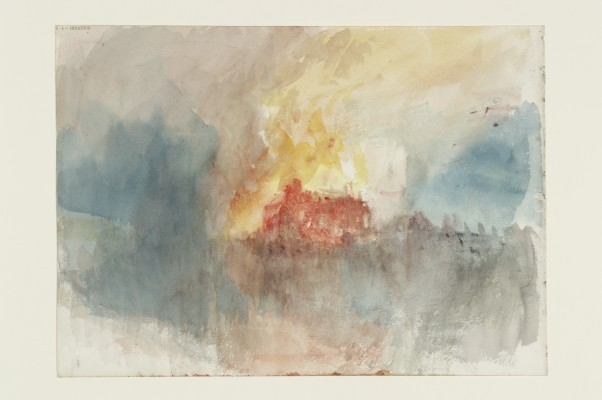 Joseph Mallord William Turner, Fire at the Grand Storehouse of the Tower of London, from Fire at the Tower of London Sketchbook [Finberg CCLXXXIII], 1841. Watercolor on paper. Tate, accepted by the nation as part of the Turner Bequest, 1856, D32164. Image © Tate, London 2015