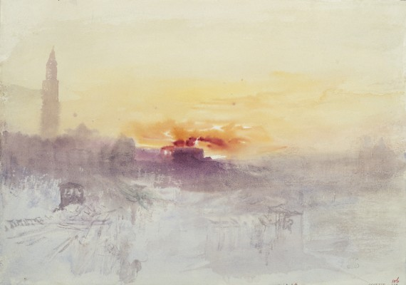 Joseph Mallord William Turner, Venice at Sunrise from the Hotel Europa, with the Campanile of San Marco, ca. 1840. Watercolor on paper. Tate, accepted by the nation as part of the Turner Bequest, 1856, D35949. Image © Tate, London 2015