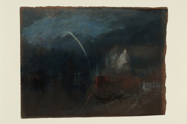 Joseph Mallord William Turner, Venice: Santa Maria della Salute, Night Scene with Rockets, ca. 1840. Watercolor and gouache on buff paper. Tate, accepted by the nation as part of the Turner Bequest, 1856, D32248. Image © Tate, London 2015