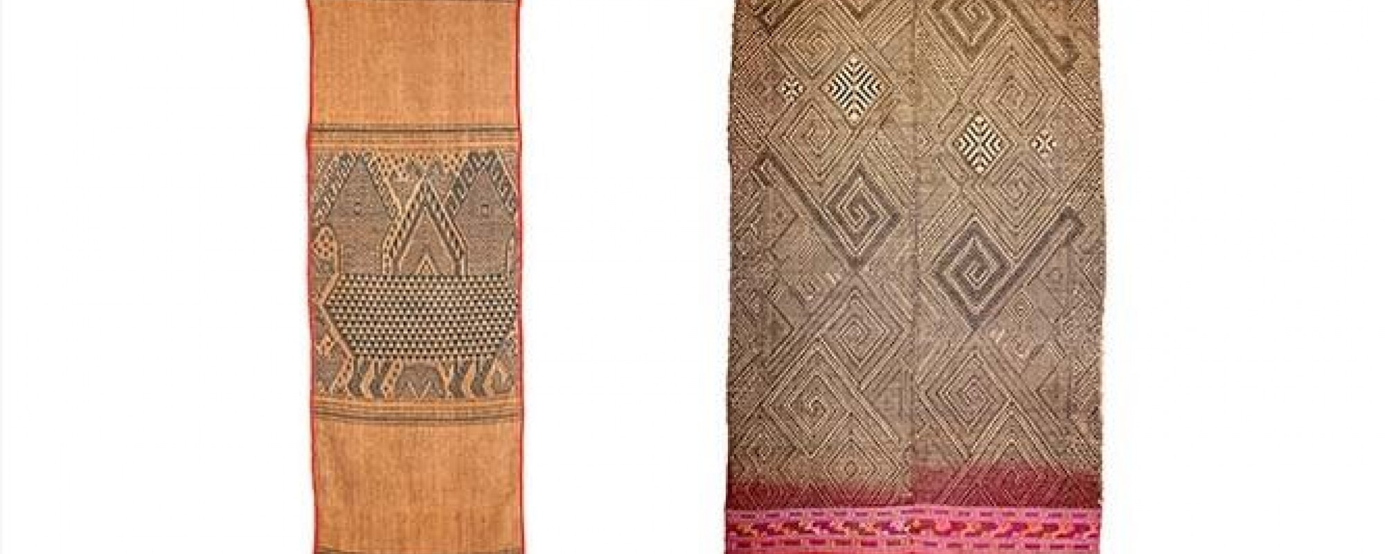 L: Buddhist sitting cloth (paa pua), 1920–1940. Laos, Xiangkhouang Province, Cotton; continuous supplementary-weft patterning. FAMSF, gift of Ellison Banks Findly, 2014.40.28. R: Wearing blanket (paa dtuum), 20th century. Laos, Tai Daeng. Cotton; continuous supplementary-weft patterning, painted warp. FAMSF, gift of Ellison Banks Findly, 2014.40.34